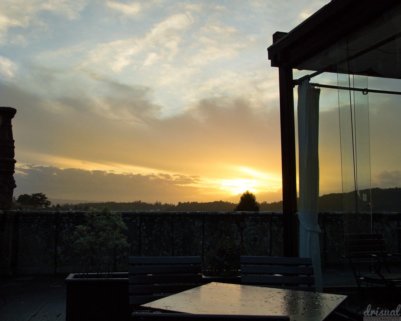 Una terraza en el Obradoiro, el corazón de Compostela.